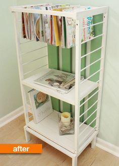 obsolete crib makes a fantastically functional set of shelves, Creative Old Crib Repurpose Ideas, http://hative.com/creative-old-crib-repurpose-ideas/,