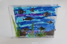 CD Case Aquarium - CD levykotelo akvaario - CD kotelo - Fish - Kala - Kids Craft - Piirretty kala - Fish Drawing - Black and White fish - Silkkipaperi - Erikrepperi - DIY - Lapsen kanssa askarrellen