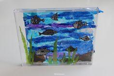 CD Case Aquarium - CD levykotelo akvaario - CD kotelo - Fish - Kala - Kids Craft - Piirretty kala - Fish Drawing - Black and White fish - Silkkipaperi - Erikrepperi - DIY - Lapsen kanssa askarrellen