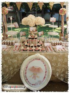 ΣΤΟΛΙΣΜΟΣ ΓΑΜΟΥ - ΒΑΠΤΙΣΗΣ :: Στολισμός Βάπτισης Θεσσαλονίκη και γύρω Νομούς :: ΣΤΟΛΙΣΜΟΣ ΒΑΠΤΙΣΗΣ VINTAGE ΠΟΕΝΤ ΚΩΔ.:DANCE-1721 Girl Baptism, Christening, Party Ideas, Table Decorations, Wedding, Vintage, Candy Stations, Valentines Day Weddings, Girl Christening