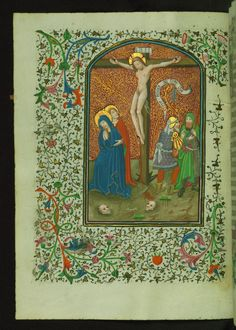 Crucifixion  Text: Hours of the Cross: None - Book of Hours-Bruges-W246