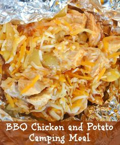 BBQ Chicken and Potato Foil Packet . This might be good with honey mustard instead of BBQ sauce