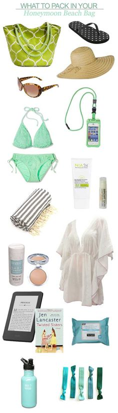 Here's my suggestions for what to pack in your honeymoon beach bag!