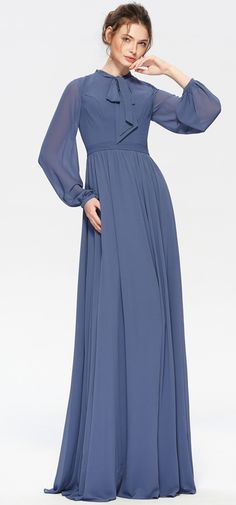 Slate blue modest bridesmaid dresses long sleeves elegant steel blue long bridesmaid dress