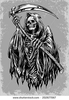 Hand Inked Grim Reaper Illustration Stock Vector - Illustration of anatomy, design: 42181277 Tatuaje Grim Reaper, Grim Reaper Art, Grim Reaper Tattoo, Don't Fear The Reaper, Grim Reaper Drawings, Dark Art Drawings, Tattoo Drawings, Evvi Art, Arte Lowrider