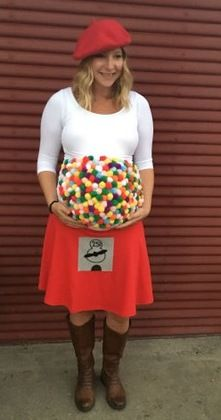 Because a baby bump should be celebrated! Halloween 2017 ideas for expecting moms! DIY Expecting mom costume, baby bump costume, halloween for pregnant women, costumes for expecting mothers, Gumball Machine Costume, expecting parents costume, family costume for expecting moms, expecting baby costumes for halloween, motherhood halloween ideas, mother-to-be costumes, belly bump costumes, pregnancy halloween costumes, Gum Machine pregnancy costume, Gumball expecting mom costume.