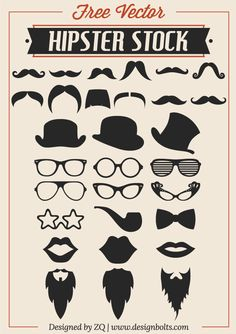 Free Vector Hipster Stock – Mustache, Beard & RayBan Glasses Free Vector