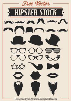 Free Vector Hipster Stock – Mustache, Beard & RayBan Glasses Free Vector