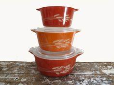 Pyrex Casserole Bowls Autumn Harvest by VintageShoppingSpree, $42.00