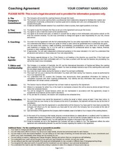Exceptional Coaching Agreement Contract TEMPLATE (Sample)