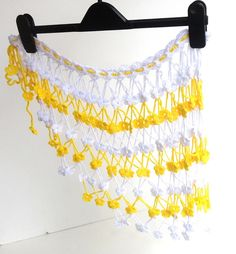 neon yellow and white floral cover up women coverups sarong pareo crochet beach fashion summer accessories for her on Etsy, $25.00
