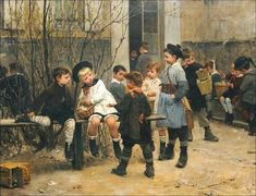 "SERENITY: HENRY JEAN JULES GEOFFROY and the surprising HIS ""STORIES"" OF CHILDREN AND ABOUT CHILDREN - 1853 - 1924 French Painter"