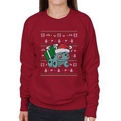 Beautiful Christmas Bulbasaur Knit Pattern Pokemon Women's Sweatshirt in red – Pokemon Christmas Gifts