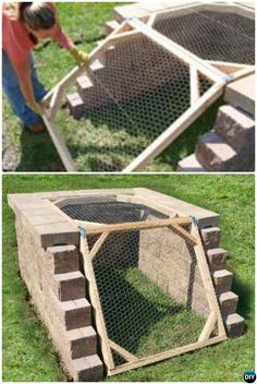 Compost DIY Angled Block Compost Bin Simple DIY Compost Bin Projects - 12 Simple DIY Compost Bin Solutions Instructions: Go green with these clean, attractive and functional compost bin solutions Garden Compost, Hydroponic Gardening, Organic Gardening, Diy Compost Bin, Wooden Compost Bin, Compost Tumbler, Vegetable Gardening, Easy Diy, Simple Diy