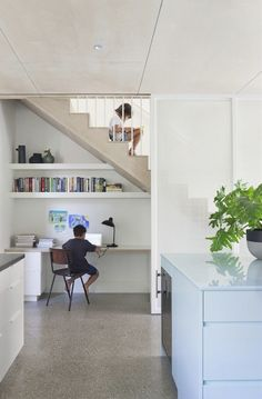 The communal kitchen study of Claire Cousins Architects Hertford Street House, photo by Shannon McGrath. Staircase Storage, Stair Storage, Staircase Design, Office Under Stairs, Space Under Stairs, Home Office Space, Home Office Design, House Design, Office Workspace