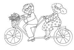 Free Dearie Dolls Digi Stamps: As requested.....Gramps and Grammy on a bicycle built for two.