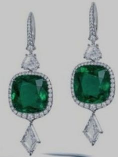 Staying with fancy cut diamonds combined with . Diamond Drop Earrings, Emerald Earrings, Emerald Jewelry, Diamond Jewelry, Colombian Emeralds, Cushion Cut, Shades Of Green, Jewelry Box, Jewellery