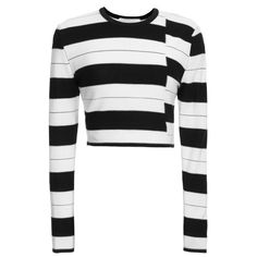 Thakoon Addition Staggered Stripe Pullover ($390) ❤ liked on Polyvore featuring tops, sweaters, rayon tops, long sleeve sweaters, striped top, cropped sweater and long sleeve crop top