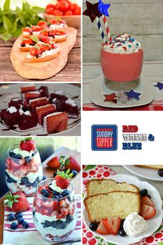 Red White and Blue Menu. Patriotic recipes for family dinners. #SundaySupper