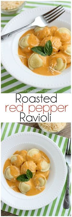 Roasted Red Pepper Ravioli - Fresh and creamy roasted red pepper sauce atop al dente cooked cheese filled ravioli, for a restaurant-quality Italian dish made easy at home! @dessertnowblog