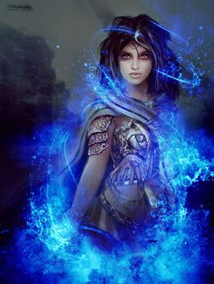 Gorgeous fantasy idea for character concept. Blue lady of the night, with a necromancer vibe, perfect as dark fantasy inspiration. #writing #fiction #woman #female