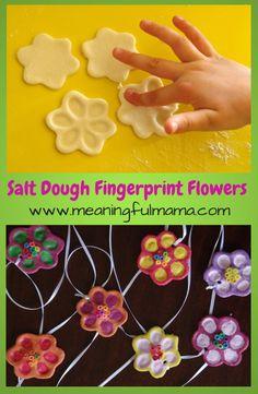 Salt Dough Fingerprint Flowers for Mother's Day