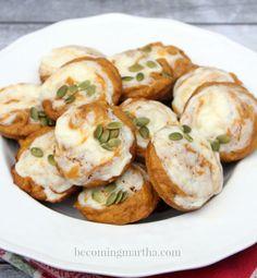 Pumpkin Muffin Tops with a Cream Cheese Swirl