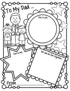 "***FREE*** This is a Father's Day printable activity card, full page, that can be completed by children from preschool through 2nd grade, or older. There are 3 windows titled ""This is you"", ""This is me"" and ""We can do this together"". There 4 versions of the Father's Day printable in this pack: • To my Dad • To my Grandpa • To my Daddy • Left blank to be personalized."