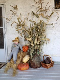 Did some fall decorating on the new veranda even though it isnt finished. Modern Halloween Decor, Halloween Decorations, Halloween 2019, Fall Halloween, Fall Decorating, Corn Stalks, Clothes Racks, Outdoor Decor, Front Porch
