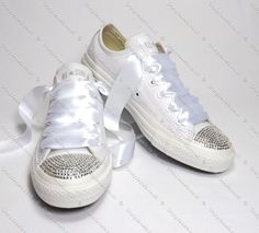 Swarovski or Diamante Crystal Pure White Wedding Leather Converse 1c5d0d6377b