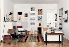 Stockholmsk lejlighed med stue i varme jordtoner