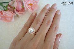 2.25 Ct Halo Wedding Set Vintage Bridal Rings by TigerGemstones