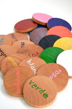 Spanish Wooden Memory Game. Or with cardboard instead of wood. Easy way to learn colors with one side the color and the other the spanish word for that color.