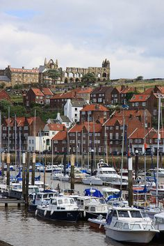 Whitby Harbour and Abbey View, North Yorkshire, England