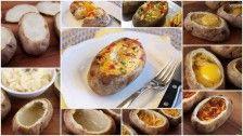 Gekookt aardappels met bacon ei en een beetje fantasie ( in de oven)