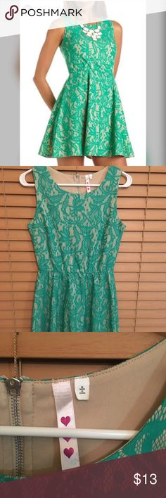 Charlotte Russe Teal Lace A-like/Skater Dress 👗 CR teal lace a-line/skater dress 👗  Worn only once.  Excellent condition ✨ Can fit Small/medium Charlotte Russe Dresses