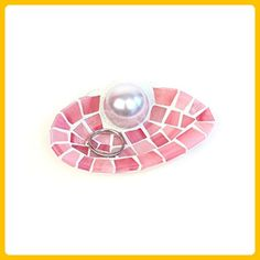 Coral Mosaic Shell Engagement Ring Holder Dish for Beach Wedding - Venue and reception decor (*Amazon Partner-Link)