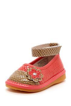 Hide & Squeak Flower Detail 2-Tone Ballet Flat by Kids Shoes