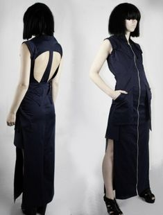 Luba GnaSevych, back dress, neopunk, cyberpunk clothing, future fashion, cyberpunk style, black clothing, futuristic clothing, futuristic by FuturisticNews.com
