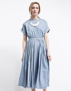 Pleats Dress in Sky