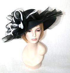 kentucky derby hat black and white horse hair brim