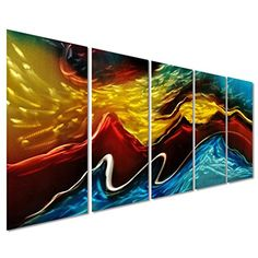 Battle of the Elements Abstract Metal Wall Art Decor  Modern Landscape Set of 5 Panels Large Wall Artwork  Decorative Sculpture for Kitchen and Living Room  64 x 24 *** Read more reviews of the product by visiting the link on the image.(It is Amazon affiliate link) #iphoneonly