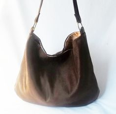8257fc0413 Chocolate Brown Hobo Vegan suede slouch bag Handmade by ACAmour