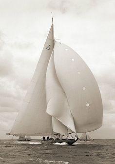 "pirates-world: "" Photo by Alfred Edward Beken "" Classic Sailing, Classic Yachts, J Class Yacht, Marine Photography, Boating Holidays, Sail Racing, World Photo, Set Sail, Wooden Boats"