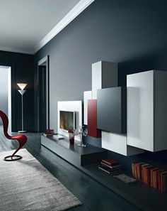 Segno Wall Unit VII by Sangiacomo, Italy in ash-effect bianco melamine and matt ferro and coral lacquer. Manufactured By San Giacomo.