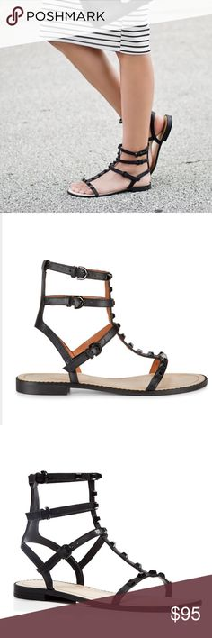 Rebecca Minkoff studded Georgina sandals New in box, sold out Georgina gladiator sandals with an edgy silhouette. Leather upper and lining, rubber sole. Black stud trim and 3 ankle straps. Fits true to size. No trades. Rebecca Minkoff Shoes Sandals