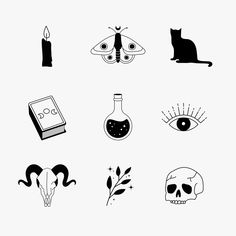 Boho Witch Icon Set, Instagram Story Highlight, Halloween Wall Paper, Magic Illustration Art,