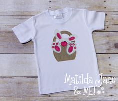 Bunny in Basket Children's Appliqued Shirt, Appliqued Shirt, Personalized Free, Big Footed Bunny Applique by ThePerfectWallet on Etsy