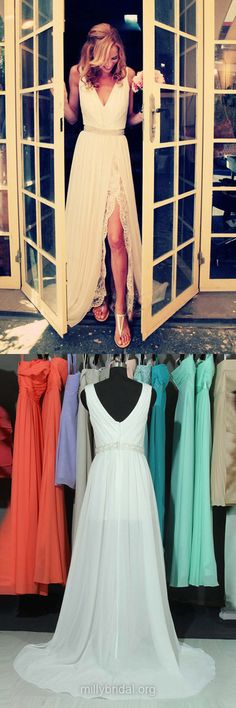 Cheap Prom Dresses, White Prom Dresses, Long Prom Dress, A-line Formal Dresses, V-neck Evening Dresses, Chiffon Party Gowns, Lace Prom Dresses