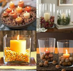 natural accents like dried corn, acorns, and apples paired with candles make a cozy fall motif... Changing Seasons- Easy Autumn Bathroom Decor from Bathroom Bliss by Rotator Rod
